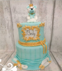 blauw en goud babyshower taart/blue and gold babyshower cake